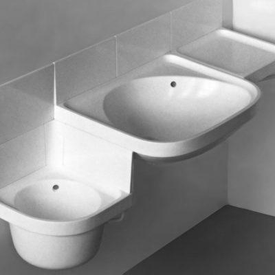 Waschbecken-System (Gipsmodell) für Keramische Werke Haldensleben . Semesterarbeit Produktgestaltung Andreas Kuhrt . KHB . 1983 (Betreuer: Erich John)