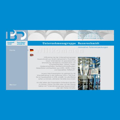 Startseite . Bauerschmidt Folien (Floh-Seligenthal) . Website (Web Design: Designakut mit LieDesign 2005)
