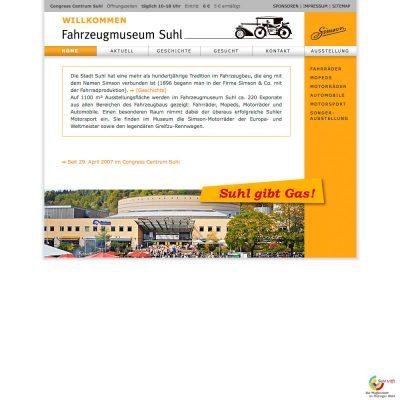 Startseite . Fahrzeugmuseum Suhl . Website (Web Design: Designakut mit Manuela Hahnebach 2007)