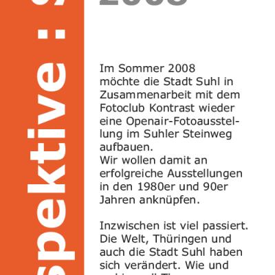 """Ausstellung """"Perspektive Suhl"""": Flyer . Stadt Suhl (Grafik Design: Designakut 2008)"""