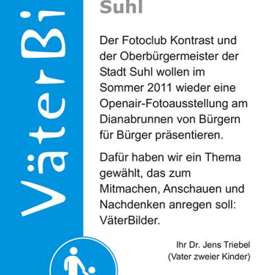 """Ausstellung """"VäterBilder"""": Flyer . Stadt Suhl (Grafik Design: Designakut 2011)"""