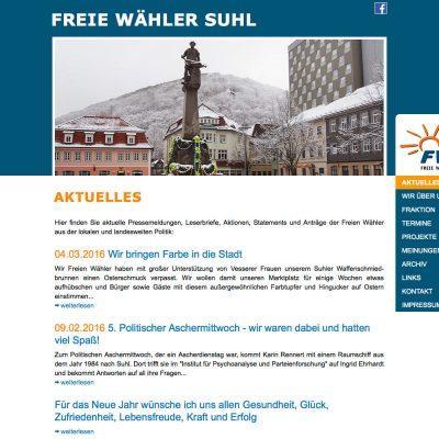 Startseite/Aktuelles . Freie Wähler Suhl . Website (Web Design: Designakut 2011)