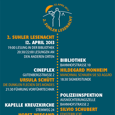 Programm-Flyer zur 2. Suhler Lesenacht 2013