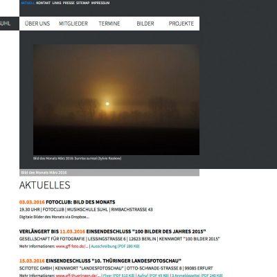 Aktuell . Fotoclub Kontrast Suhl . Website (Web Design: Designakut 2013)