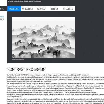 Kontrast-Programm . Fotoclub Kontrast Suhl . Website (Web Design: Designakut 2013)