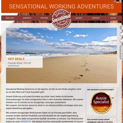 Startseite . Sensational Working Adventures . Website (Web Design: Designakut 2014)