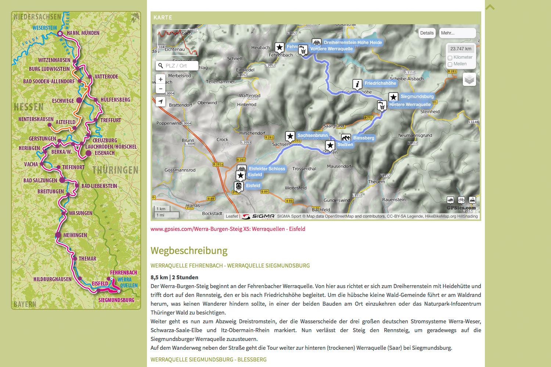 Gpsies Karte.Website Werra Burgen Steig 2014 Designakut