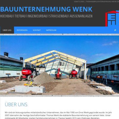 Startseite/Home . Bauunternehmung Wenk (Themar) . Website (Web Design: Designakut 2015)