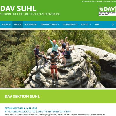 Home . DAV Suhl . Website (Web Design: Designakut 2015)