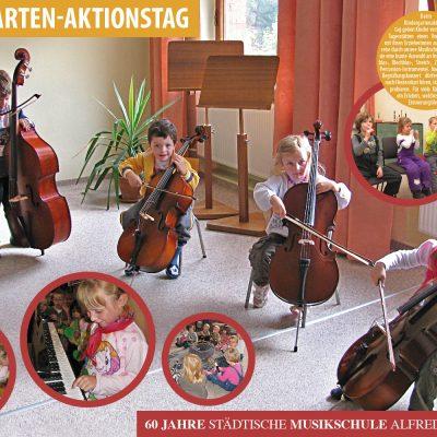 """Kindergarten-Aktionstag . Ausstellung """"60 Jahre Musikschule Suhl"""" (Ausstellungsgestaltung: Designakut 2016)"""