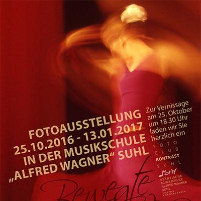 """Plakat zur Fotoausstellung """"Bewegte Bilder"""" . Fotoclub Kontast Suhl (Grafikdesign: Andreas Kuhrt, Foto: Günter Giese)"""