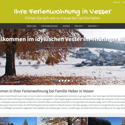 Website fewo.in-vesser.de (Familie Heber) mit WordPress + WP-Theme Nirvana