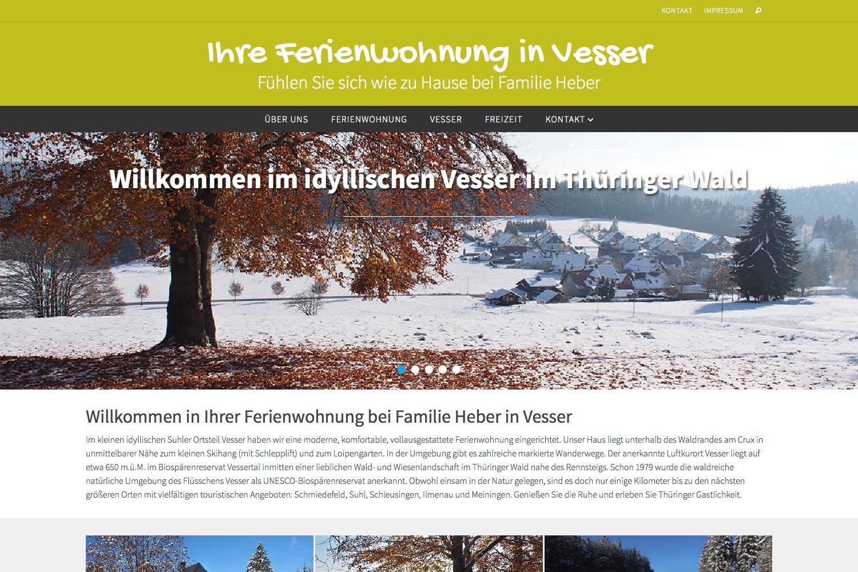 Website fewo.in-vesser.de (Familie Heber) mit WordPress + WP-Theme Nirvana