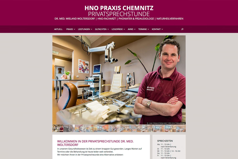 Startseite . Privatsprechstunde HNO-Praxis Chemnitz . Website (Web Design: Designakut 2016)