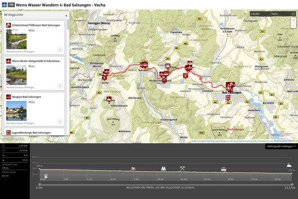 Werra Wasser Wandern 4: Bad Salzungen - Vacha (Mapping: Andreas Kuhrt auf outdooractive.com)