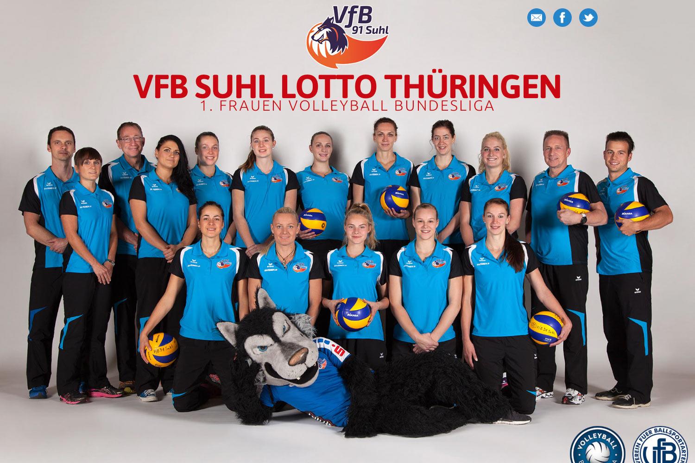 Startseite mit Slider (Foto: Anja Hüttner) . Website VfB Suhl LOTTO Thüringen . 1. Volleyball-Bundesliga Frauen (Web Design: Designakut 2017)