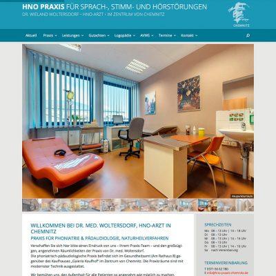 Startseite mit Slider . HNO-Praxis Chemnitz . Website (Web Design: Designakut 2017)