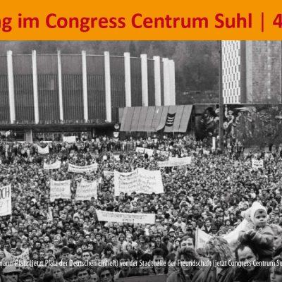 """Flyer zur Ausstellung """"Friedliche Revolution in Suhl 1989/90"""" . CCS 2019"""
