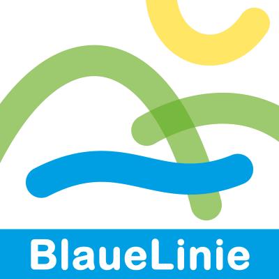 Logo: BlaueLinie . Wanderweg bei Goldlauter-Heidersbach (Gestaltung: Andreas Kuhrt)
