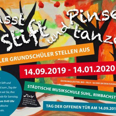 "Plakat zur Ausstellung ""Lasst Stift und Pinsel tanzen"" . Musikschule Suhl 2019"
