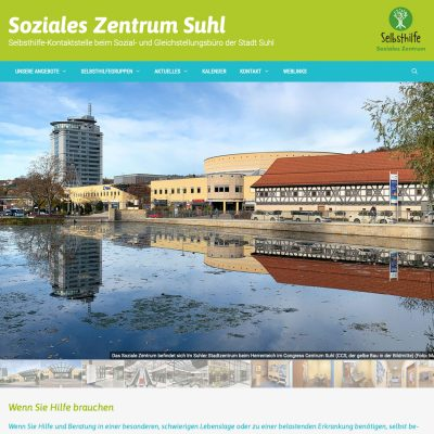 Website Soziales Zentrum Suhl: Startseite (Web Design: Designakut 2019)
