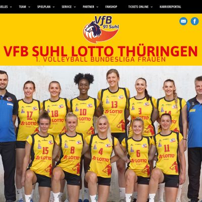 Startseite: Slider: Team 2019 . Website VfB Suhl LOTTO Thüringen . 1. Volleyball-Bundesliga Team (Web Design: Designakut 2019)