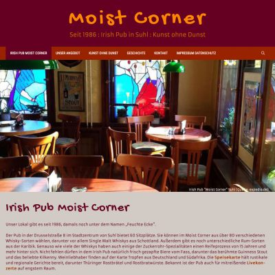 Startseite . Website Moist Corner Suhl (Web Design: Designakut 2019)