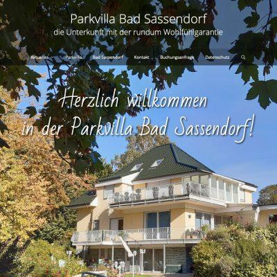 Startseite: Parkvilla Bad Sassendorf (Web Design: Designakut 2019)