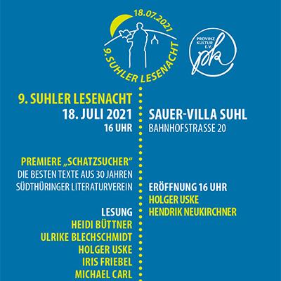 Plakat: 9. Suhler Lesenacht 2021 (Grafikdesign: design.akut.zone)