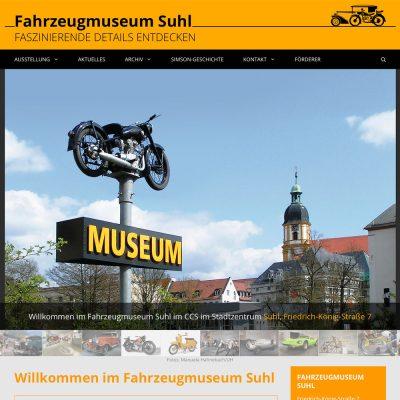 Website Fahrzeugmuseum Suhl: Startseite (WordPress, 2021)