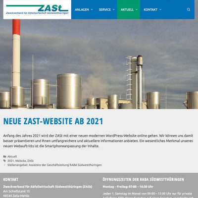 "Website ZASt: Beitrag ""Neue Website"" (Webdesign: design.akut.zone 2020/21)"