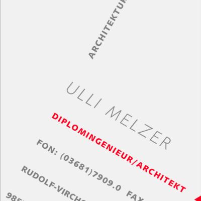 Visitenkarte für Architekturbüro Melzer (Entwurf: Andreas Kuhrt 2000)
