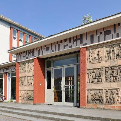 Eingang der Kunsthochschule Berlin-Weißensee . Architekt: Selman Selmanigic (Foto: Heike Overbeck)