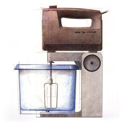 Rührgeräte-System (Buntstiftzeichnung) . EGS (Produkt Design: Andreas Kuhrt 1989)